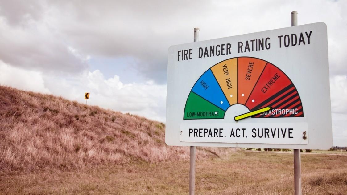 Tafel mit Feuergefährlichkeitsskala in Australien
