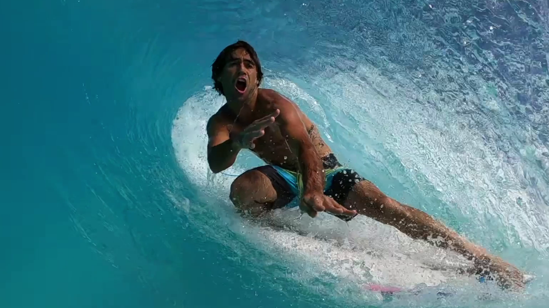 Surfer under a barrel wave at SURFLOCH