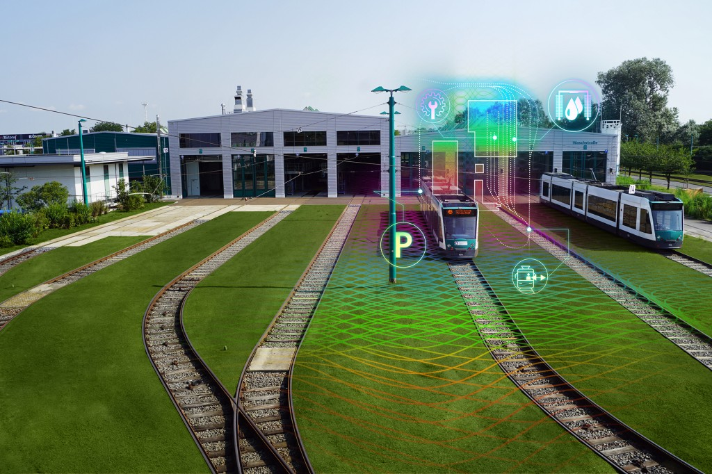 The picture shows world's first autonomous tram.