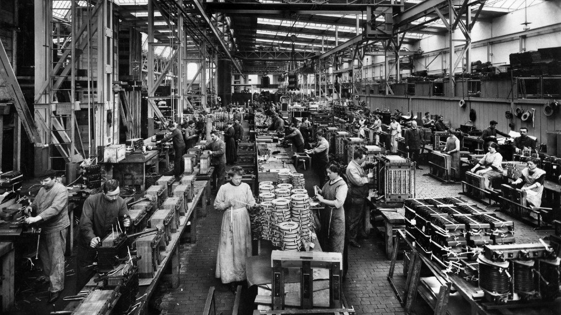 Produktion im Transformatorenwerk Nürnberg, 1913
