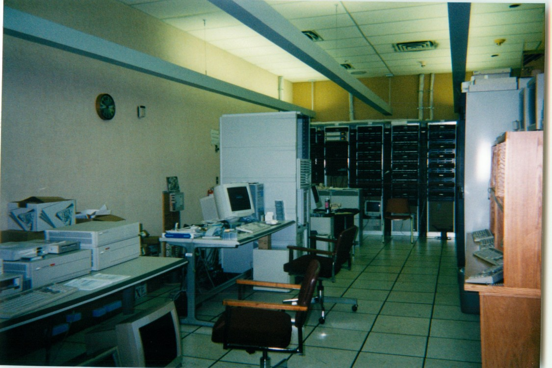 Flashback:  A look at the old PTI computer room with special air conditioning units and raised floor for cabling.