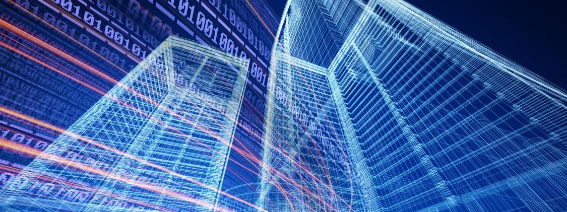 Estrutura de dois predios em azul claro reprensentado tencologia de gemeos digitais na area da cosntrucao