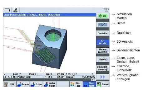 SINUMERIK Operate - моделирование обработки без движения осей