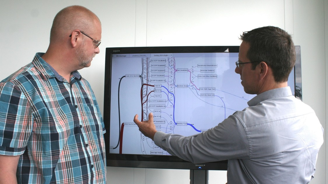 Michael Metzger (left) and Hans Jörg Heger discuss an energy flow diagram.