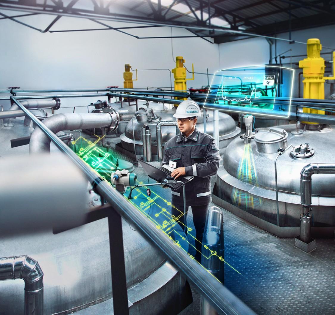 Keyvisual zur Prozessinstumentierung mit SITRANS Feldmessgeräten in der chemischen Industrie.