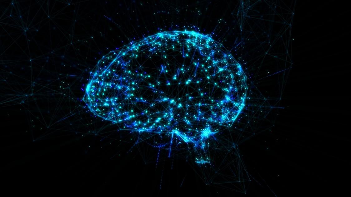 vários pontos e linhas azuis se conectando formando algo parecido com cérebro para representar a indústria 4.0