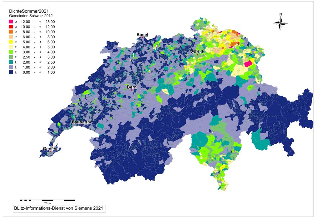 BLITZ-Dichte CH nach Gemeinden Sommer 2021