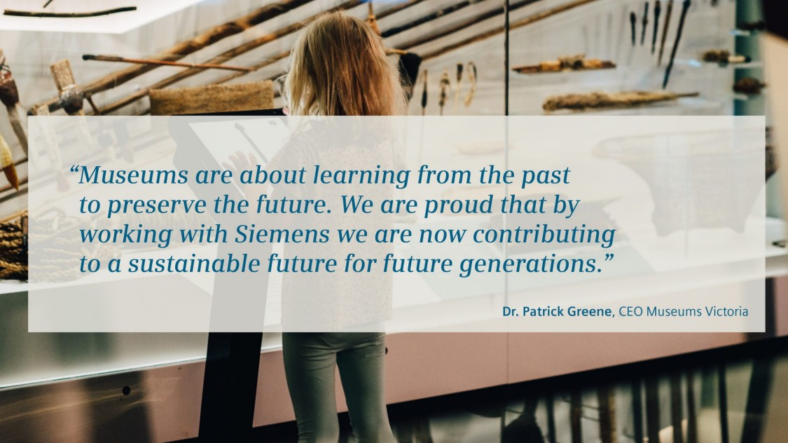 "Child in front of artefacts with quote from Dr. Patrick Greene, CEO Mesums Vicotira on ""Meseums are about learning from the past to preserve the future. We are proud that by working with Siemens, we are contributing to a sustainable future for future generations."""