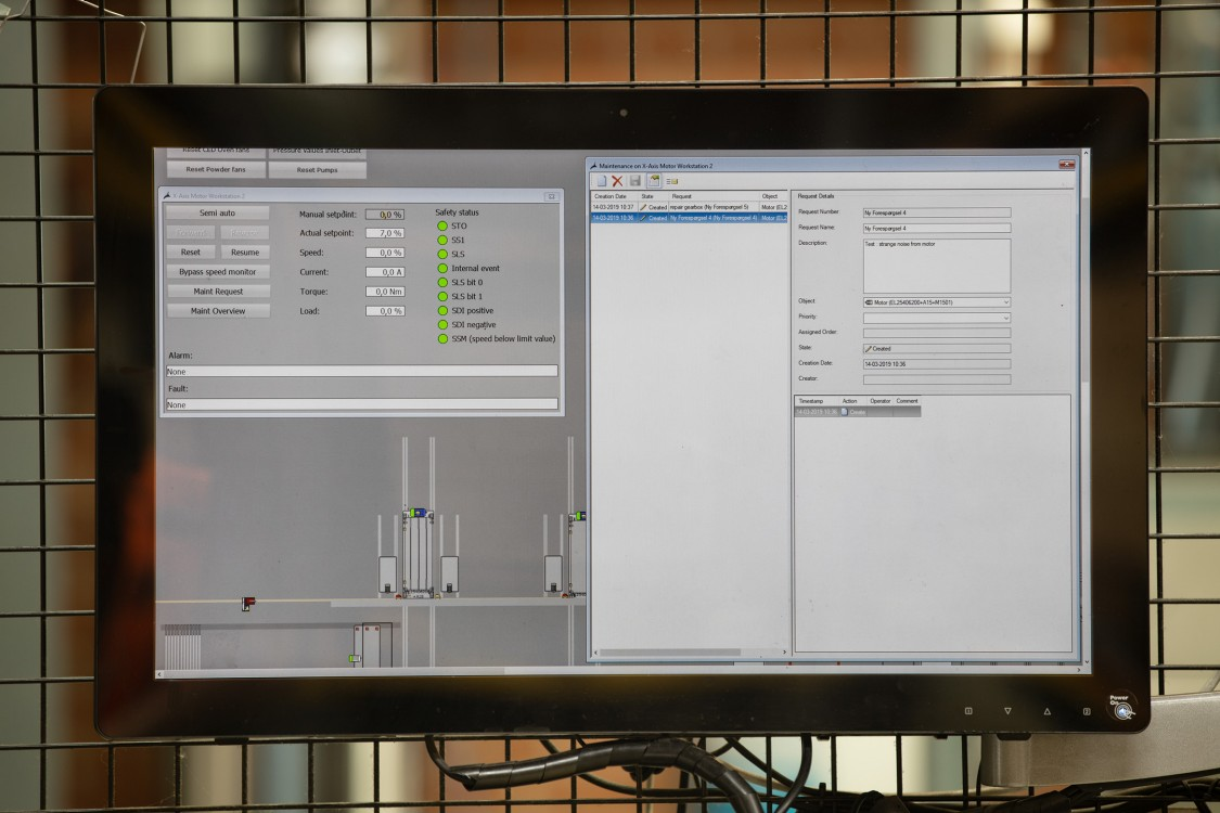 Monitor with the WinCC PM-MAINTENANCE software