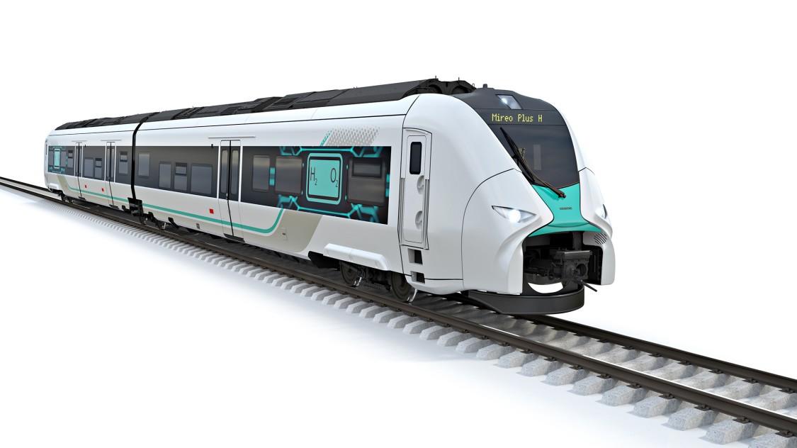 Bild des Wasserstoffzugs von Siemens Mobility Mireo Plus H vor weißem Hintergrund