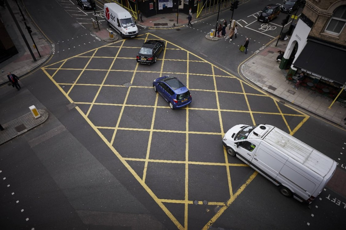 Traffic across a yellow box junction