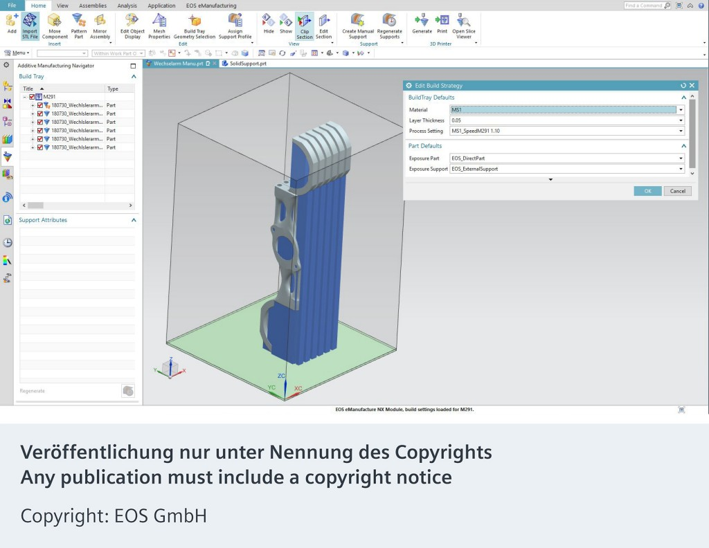 The picture shows the EOSPRINT driver for the Siemens NX™ 12.
