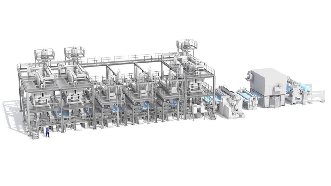 Vliesstoffanlage von Reifenhäuser Reicofil, automatisiert mit SIMATIC S7-1200.