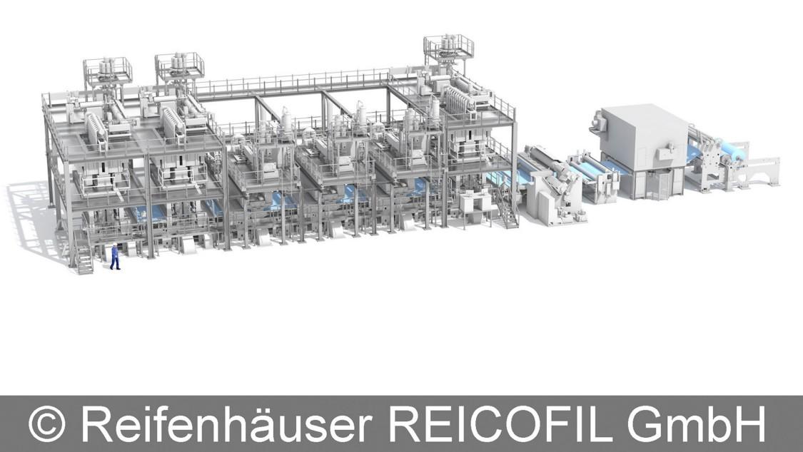 Fliesstoffanlage von Reifenhäuser Reicofil, automatisiert mit SIMATIC S7-1200.