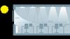 stropní detektory a senzory intenzity osvětlení