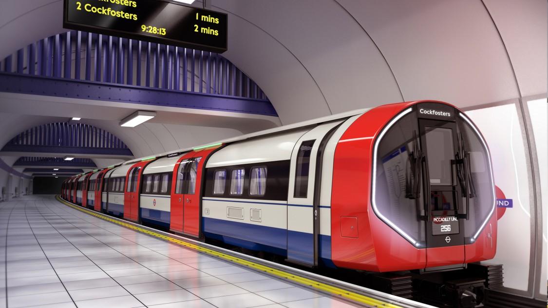 Eine Siemens Mobility Inspiro Metro am Bahnsteig einer Metro-Station in London.