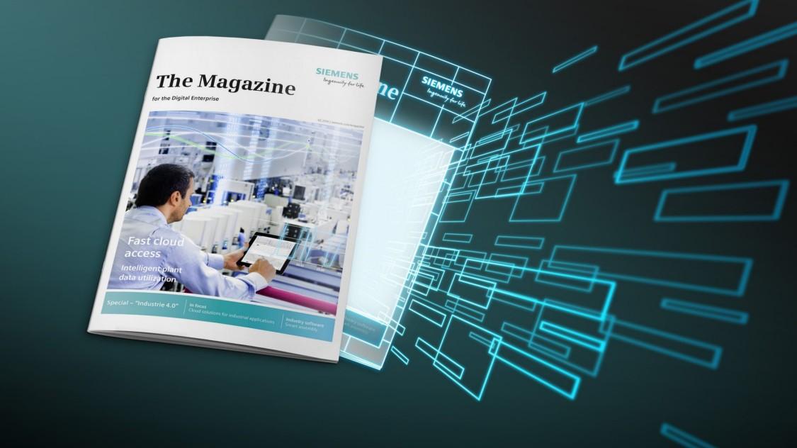 """Eine Ausgabe des Magazins """"Prozessindustrie"""", das vor blau-grünem Hintergrund schwebt – inmitten eines digitalen Layers."""