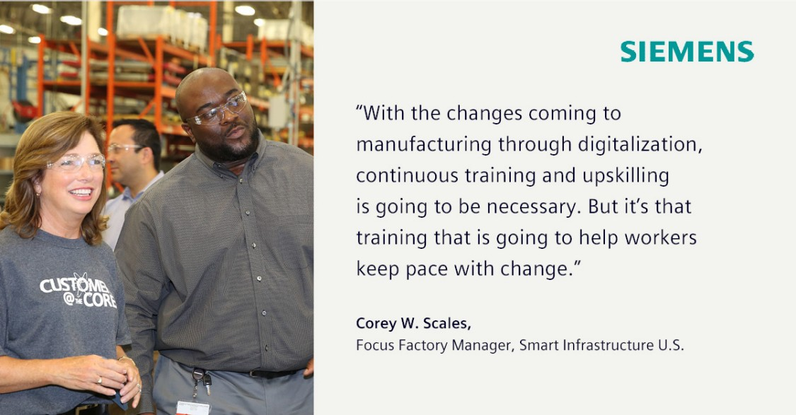 Barbara Humpton, CEO Siemens USA, and Corey Scales, Siemens Factory Manager, on a factory tour