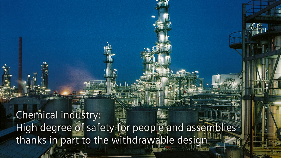 Chemical industry: High degree of safety for people and assemblies thanks in part to the withdrawable design