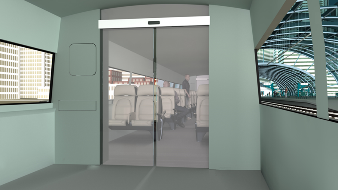 Automation of interior railway doors e.g. in a high-speed train