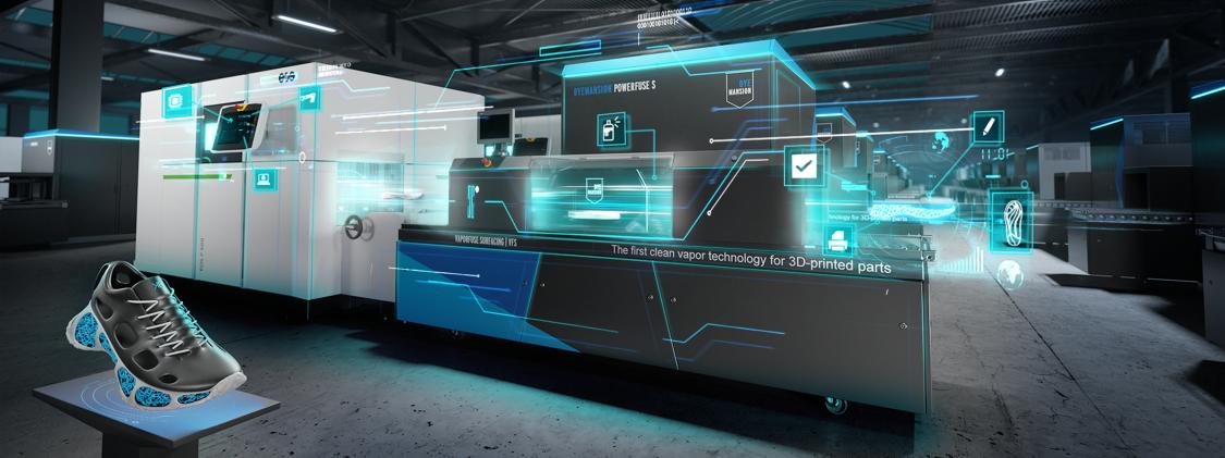 На прикладі виробництва взуття, компанії Siemens, EOS і DyeMansion демонструють, як може виглядати наступний крок на шляху до трансформації селективного лазерного спікання полімерів.