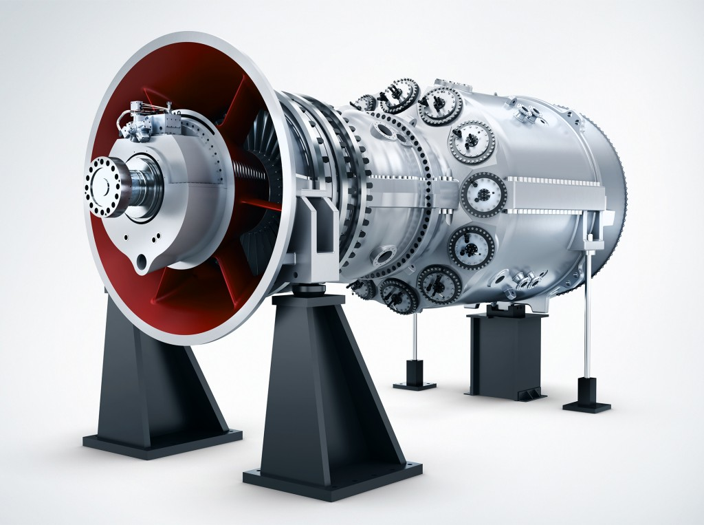 The picture shows a HL-class gas turbine