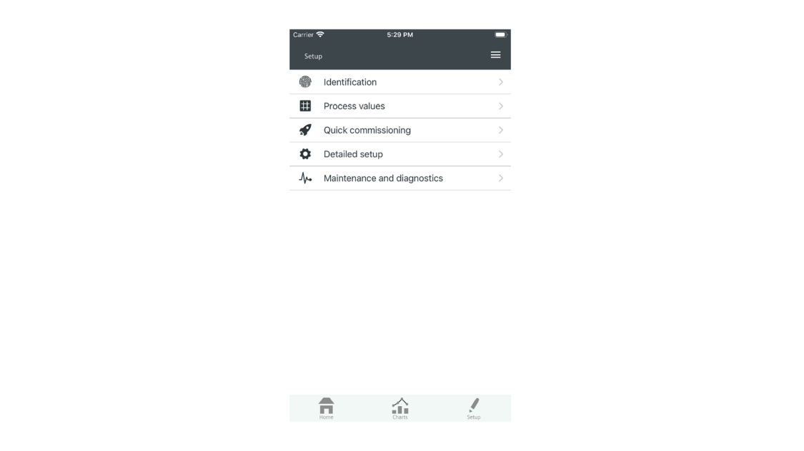 USA   SITRANS mobile IQ set up screen shot