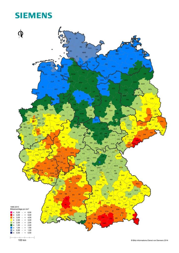 Wissen, wo es blitzt – Informationsdienst von Siemens registriert jeden Blitzeinschlag