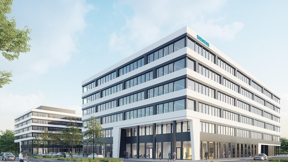Rendering des Siemensgebäudes im Gateway Gardens Frankfurt