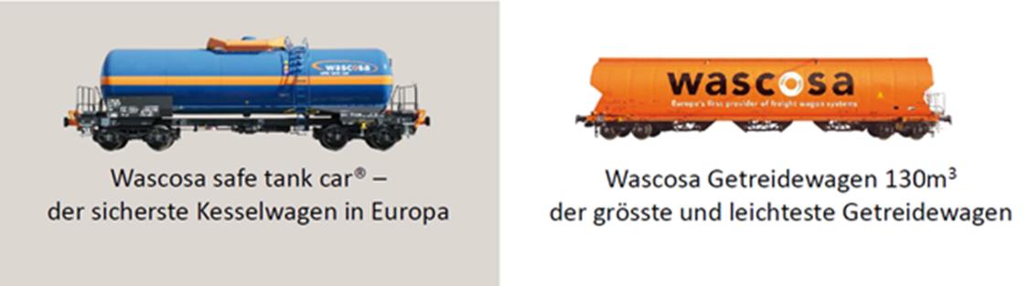 wascosa safe tank car - sicherster Kesselwagen in Europa und Wascos Getreidewagen - grösster und leichtester Getreidewagen