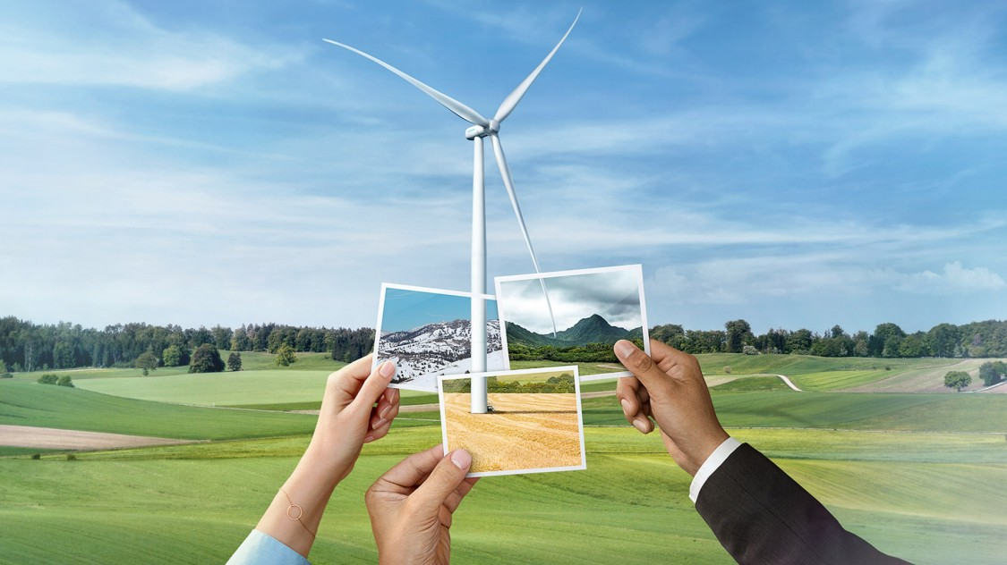 Three pictures with different landscapes in front of a turbine