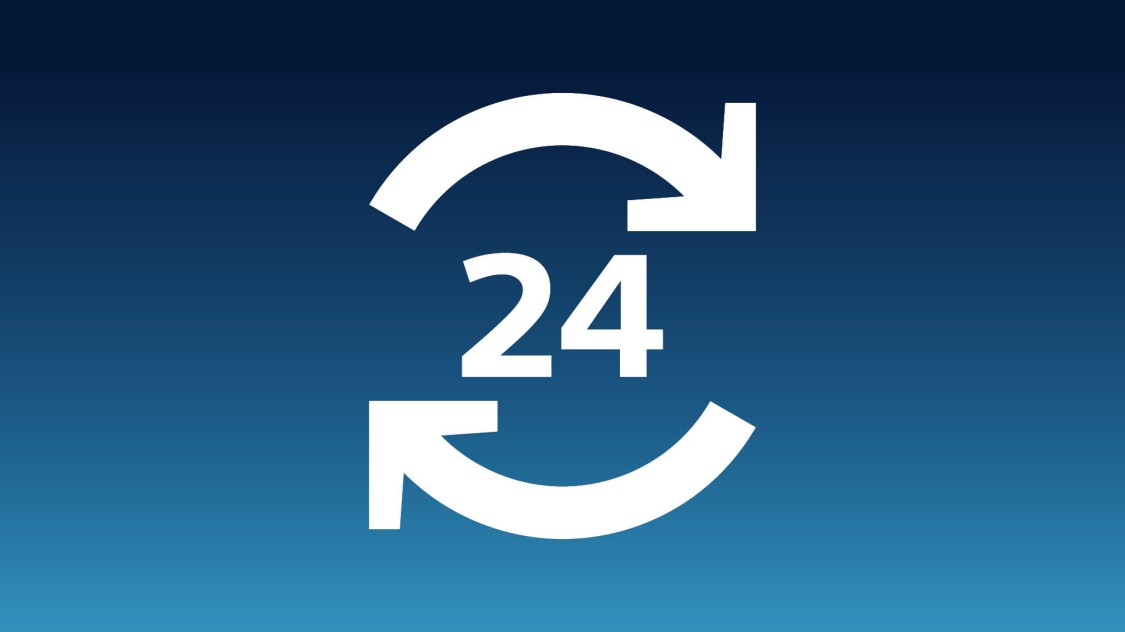 Icon, dass 24 Stunden Verfügbarkeit zeigt