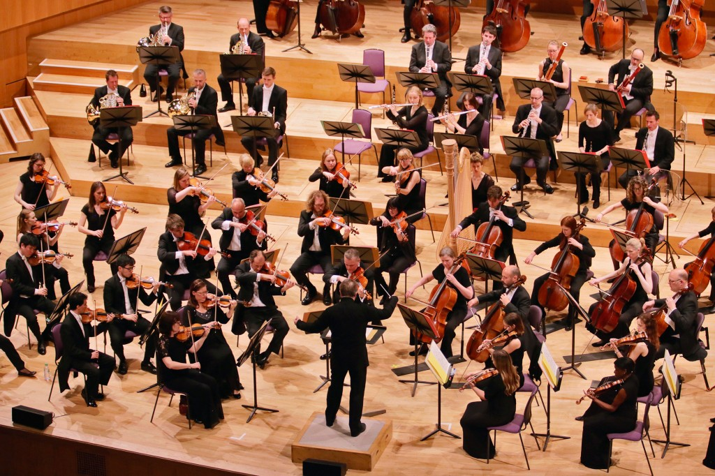 The Hallé Orchestra during a performance conducted by Sir Mark Elder