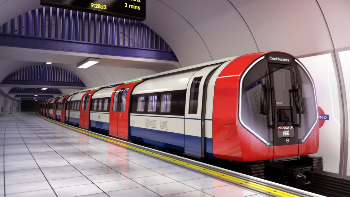 A Siemens Mobility Inspiro Metro at a platform of a metro station in London.