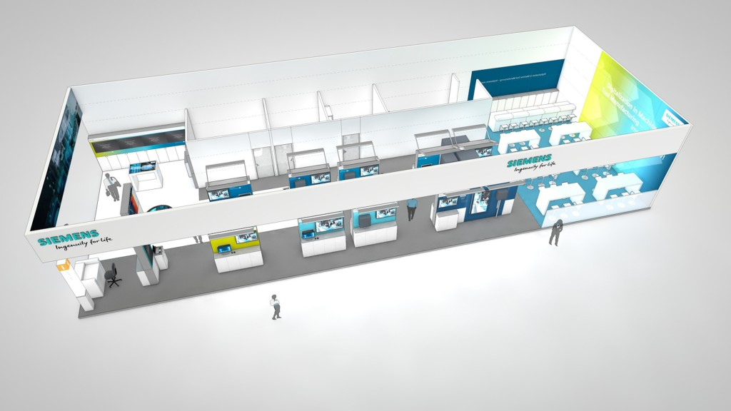 The picture shows the Siemens booth at the AMB in Stuttgart, the International Exhibition for Metalworking.