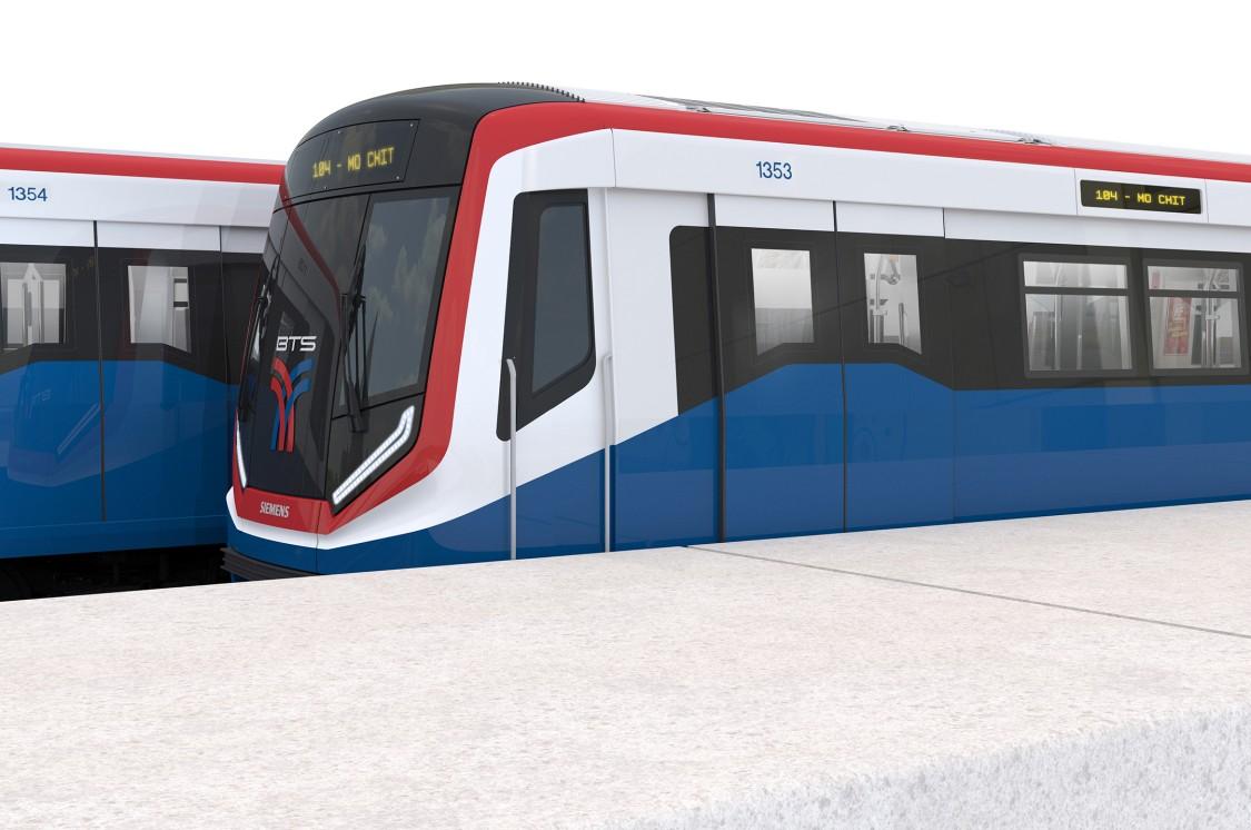 Two Green Line Siemens Mobility metro trains in Bangkok.