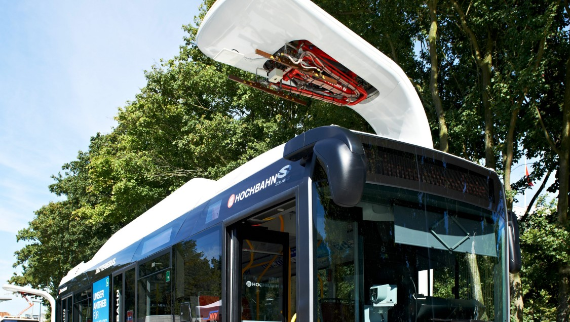 Electric bus at a charging station