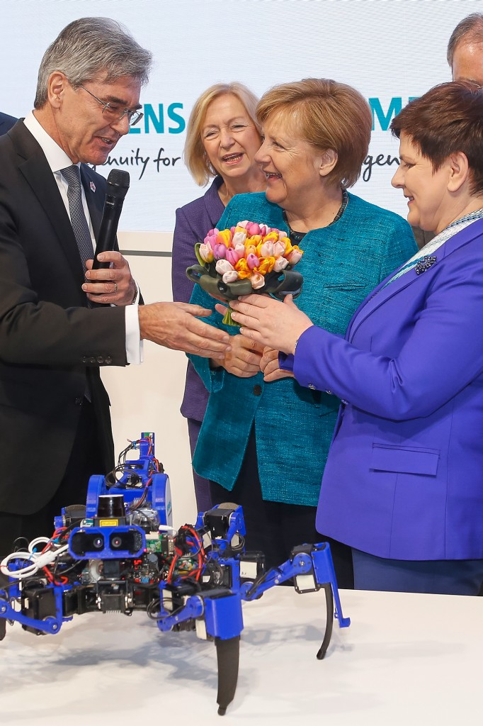 Siemens at the Hannover Messe 2017 - Prime Minister Szydlo and Chancellor Merkel visit Siemens