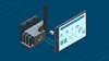 ilustração de uma tela de computador exibindo software de gerenciamento de ativos com conexão para uma indústria