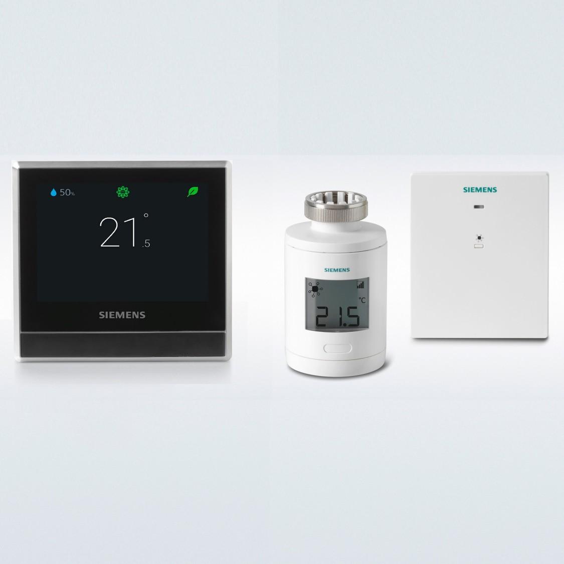 Chytrý termostat  RDS110.R  v kombinaci se spínací jednotkou a bezdrátovým servopohonem – periferní přístroje se objednávají samostatně.