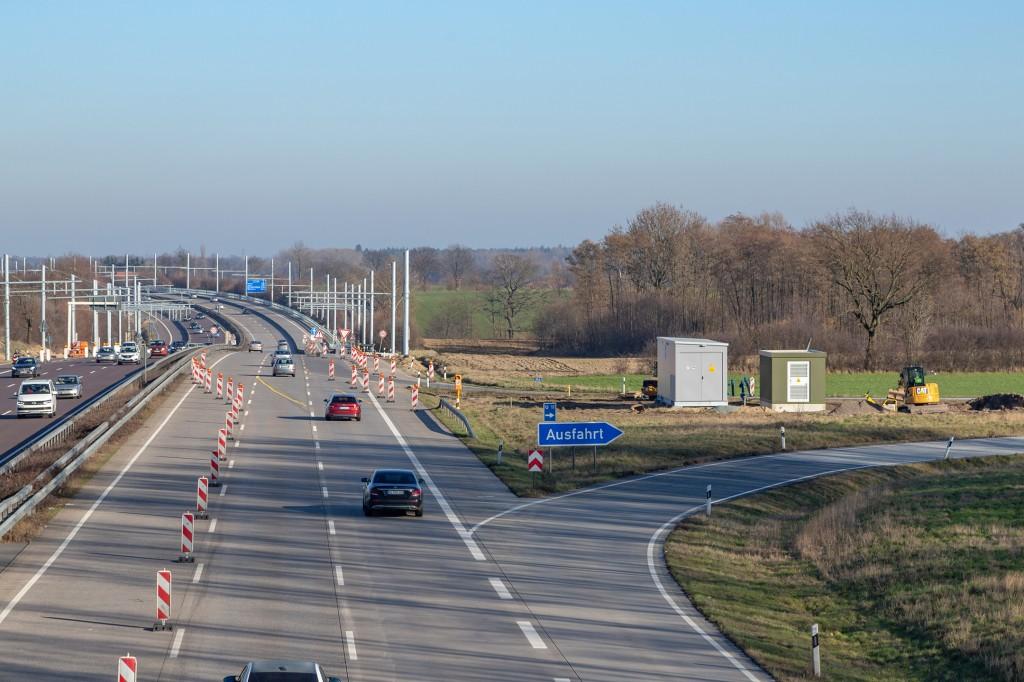 Bau des eHighway auf der Bundesautobahn A1