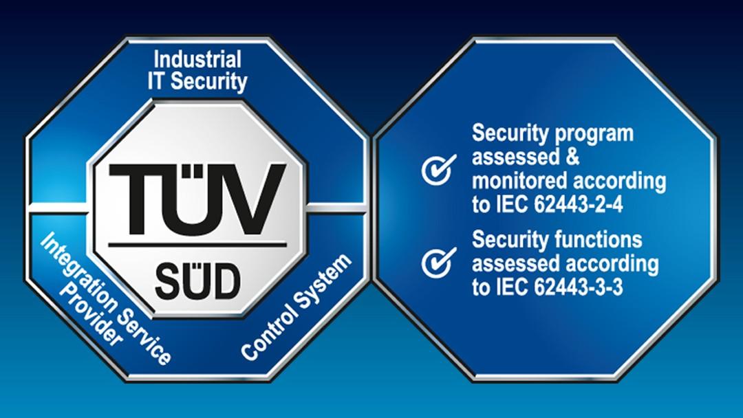Prüfzeichen: IT-Sicherheit vom TÜV SÜD zertifiziert gemäß IEC 62443-3-3