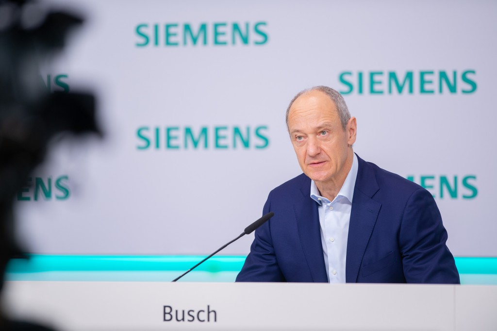 Roland Busch, Deputy CEO of Siemens AG, during his remarks on the state of the company, at the virtual Annual Press Conference on November 12, 2020, at Siemens headquarters in Munich, Germany.