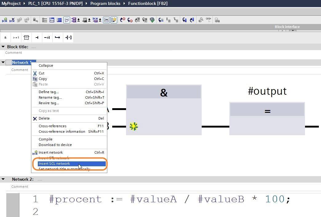 Infoga SCL-kod i ett LAD/FBD-block