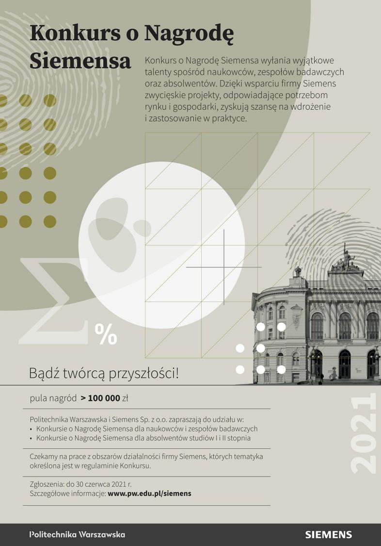 Plakat przedstawiający informacje o Konkursie o Nagrodę Siemensa