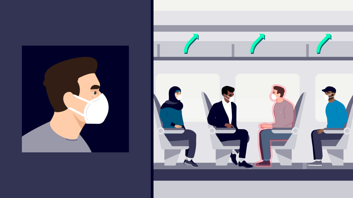 An illustration shows air flow on board a train and how HVAC systems can mitigate risk caused by viruses as COVID-19 and improve the passenger experience