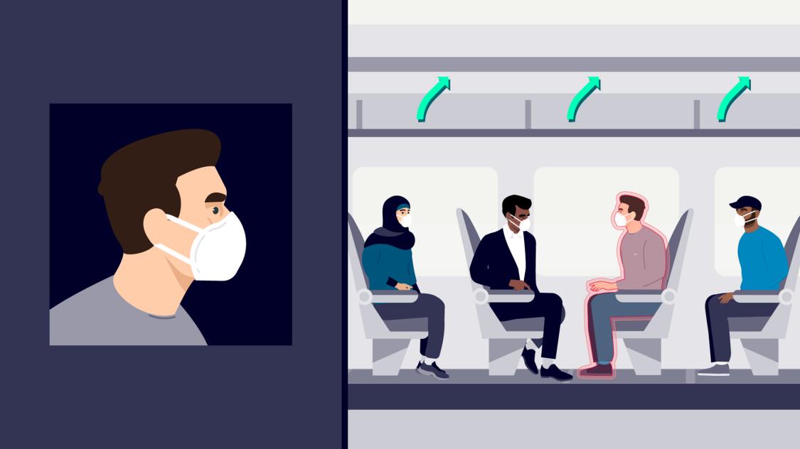 Eine Illustration zeigt den Luftstrom an Bord eines Zuges und wie HLK-Systeme das durch Viren wie COVID-19 verursachte Risiko mindern und die Passenger Experience verbessern können