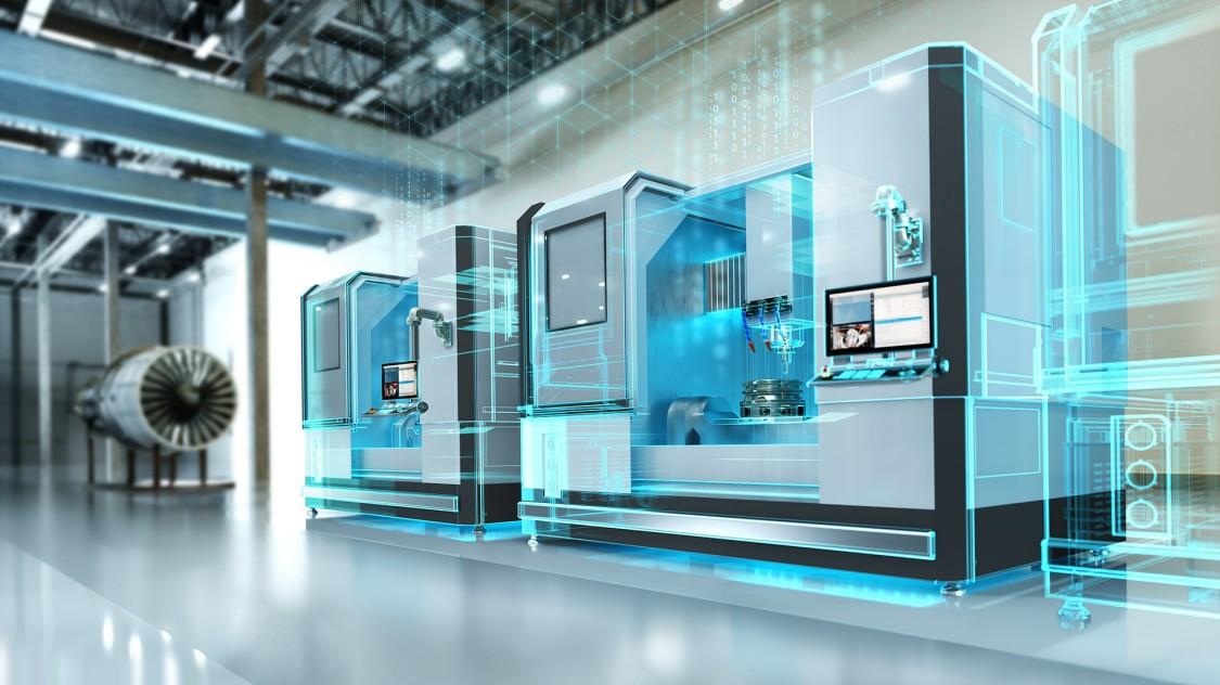 CNC Steuerung in einer Werkzeugmaschine mit digitalem Zwilling, im Zeichen der Digitalisierung