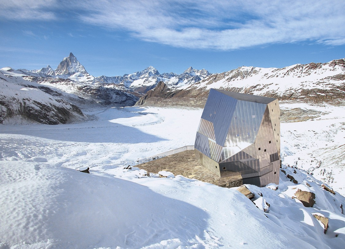 Monte Rosa Hut in Swiss Alps