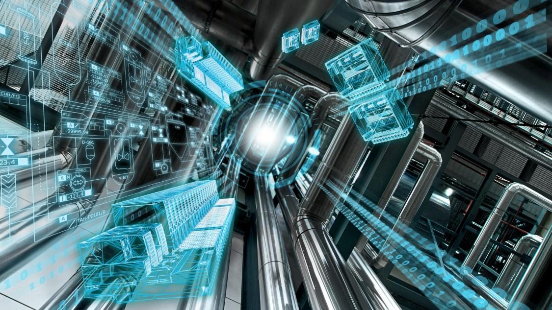 Eine Anlage von unten nach oben fotografiert, symbolisiert wie das Prozessleitsystem SIMATIC PCS 7 V9.0 Raum für neue Perspektiven eröffnet, indem es eine Digitalisierung bis in die Feldebene ermöglicht – visualisiert über einen blauen digitalen Layer.